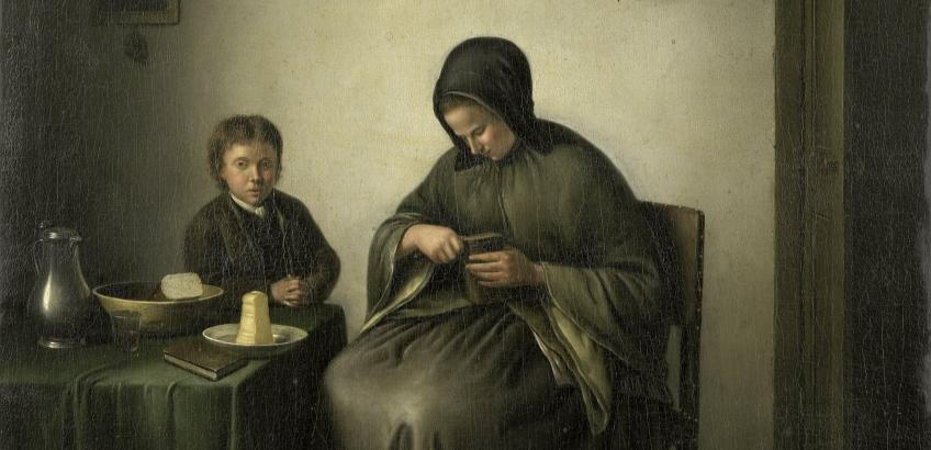 Janson, Johannes Christian (1800-1823) - A Woman Slicing Bread (fra Rijksmuseums samling)